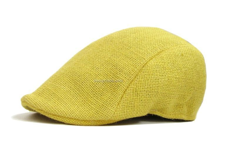 Bright yellow jute fashion beret
