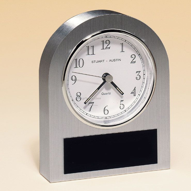 Brushed Silver Aluminum Clock