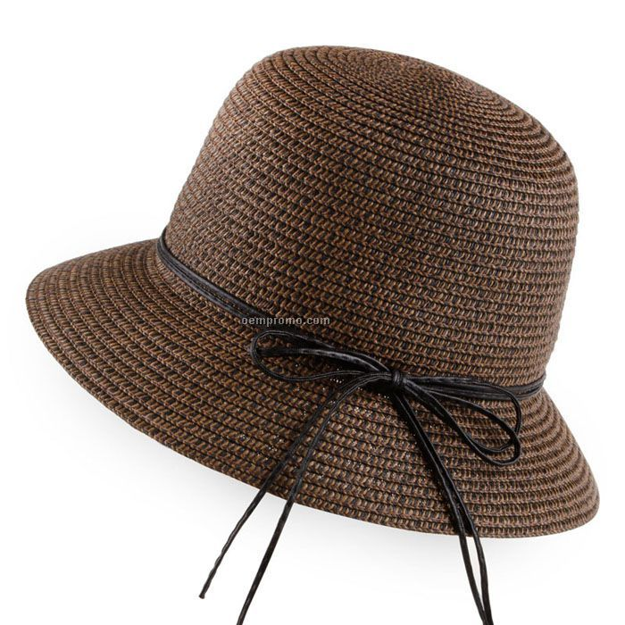 Bucket straw hat with hat strings