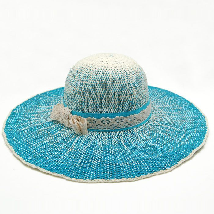 Changing blue crushable straw hat