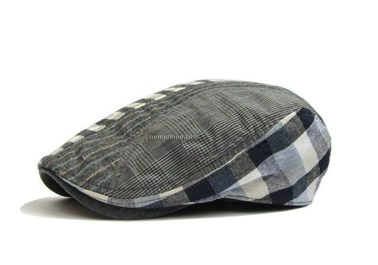 Check stripped casual beret