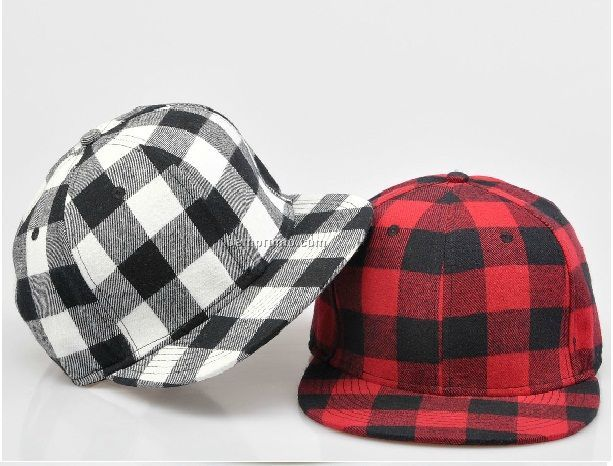 Checked snapback hat