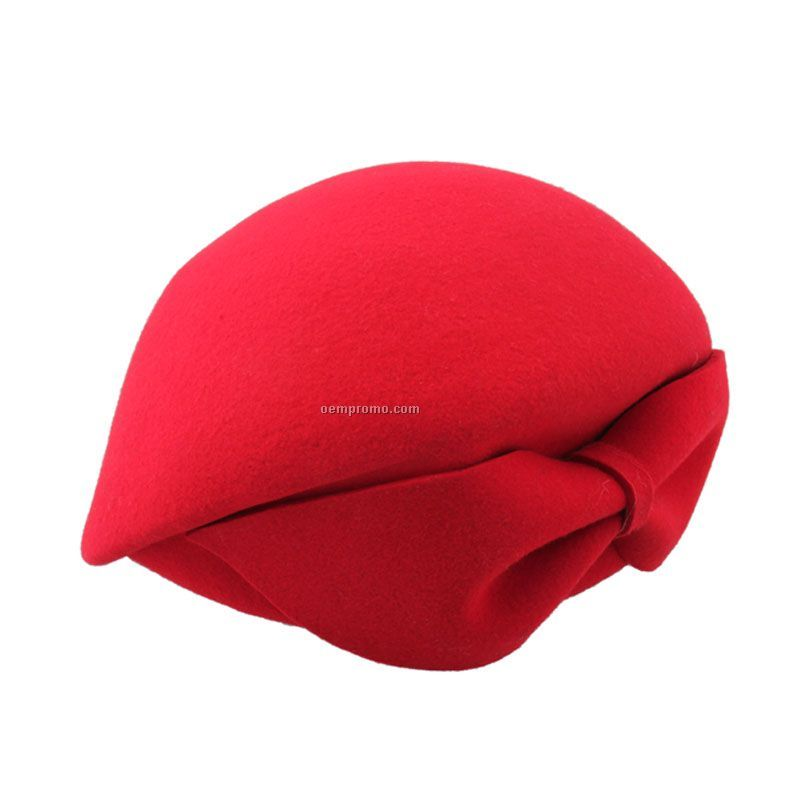 Chinese red fashion beret with bow at back