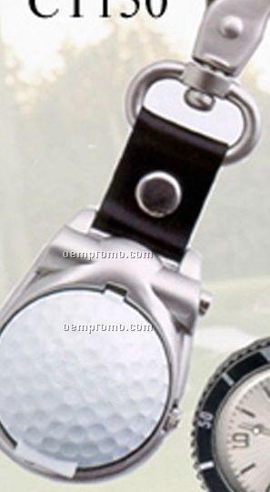 Cititec Clip Analog Quartz Watch W/ Golf Ball Cover (Silver W/ Black Face)