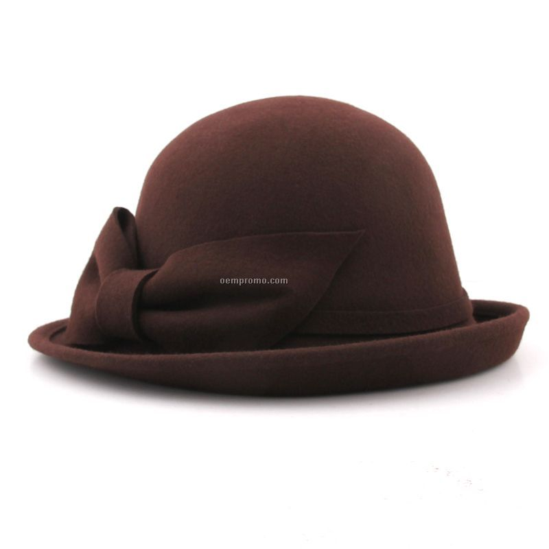 Coffee woman triby hat with bow