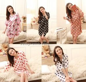 Colorful Polka Dot Silk Night Wear