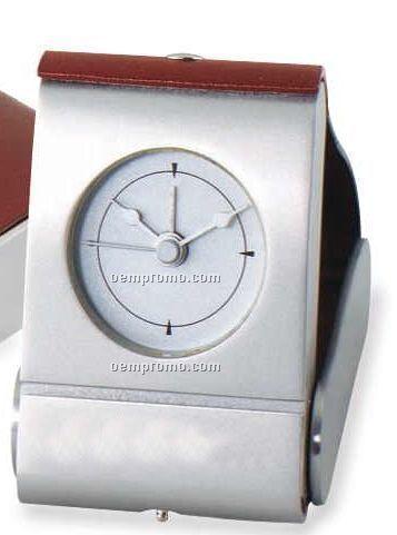 Compact Leather & Brass Alarm Clock W/ Silk Screen (2