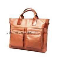 Dark Brown Cowhide Briefcase W/ 2 Front Pocket