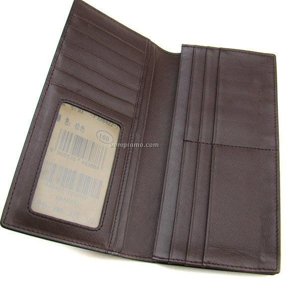Dark Brown Stone Wash Cowhide 2 Section Cell Phone Pouch W/ Straps