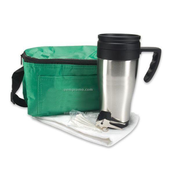 Deluxe Golf Gift Set W/ Steel Budget Mug & 6 Pack Cooler Bag
