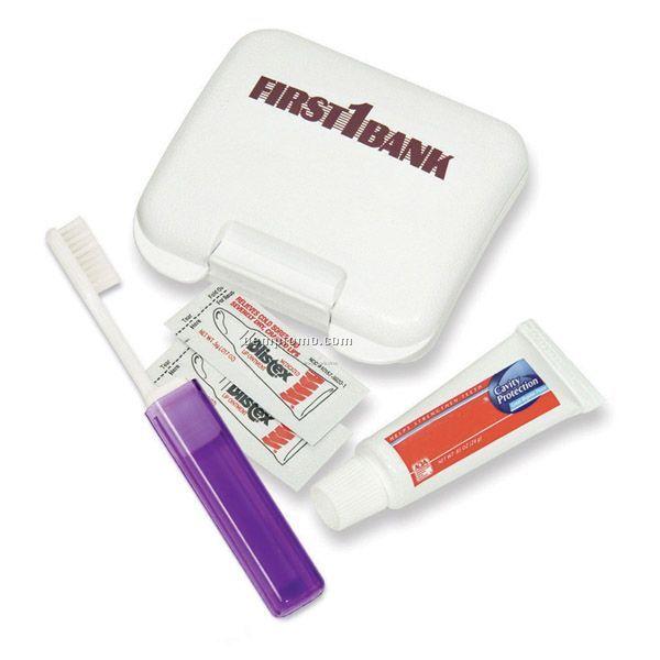 Dental Kit In A Plastic Pocket Tote W/Lip Balm