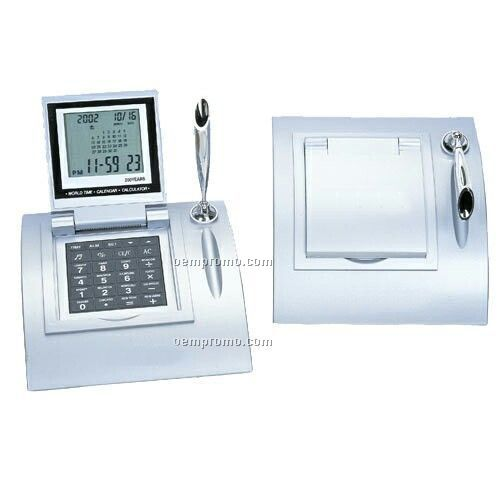 Desk Top Calendar / Alarm Clock / Calculator / Pen Holder With Flip Top