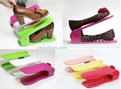 Easily Adjustable Double 3D Plastic Shoe Rack
