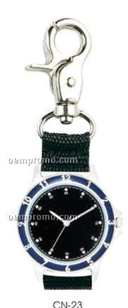 Executive Clip On Watch W/Black Face