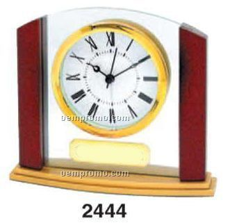 Glass & Wood Alarm Clock W/ Curved Florentine Base