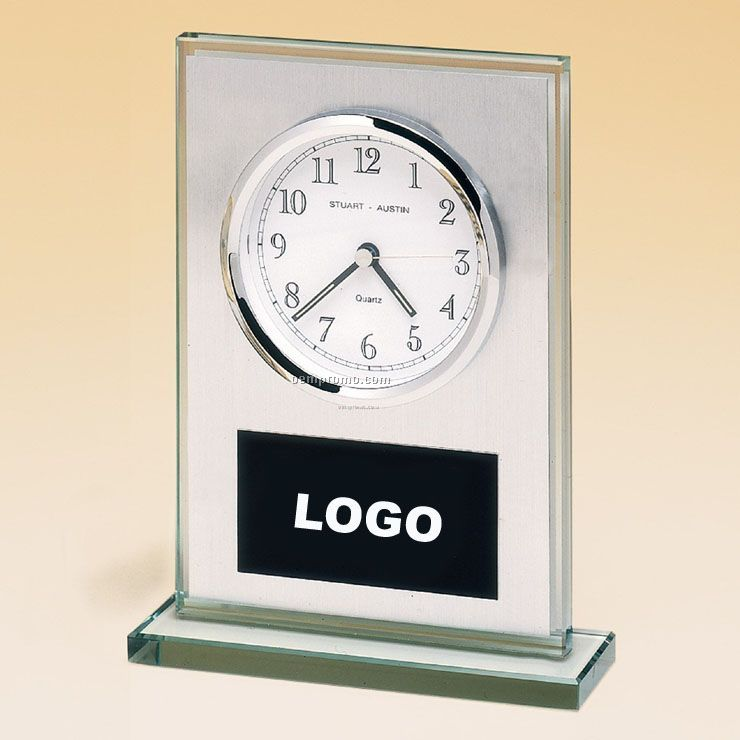 Glass Clock With Brushed Aluminum Panel And White Dial.