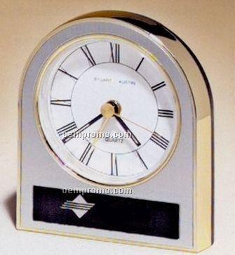 Gold, Silver & Black Plastic Clock W/ White Dial (3 1/2