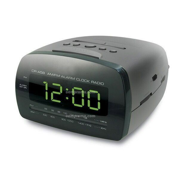 Green LED Digital AM/FM Alarm Clock Radio