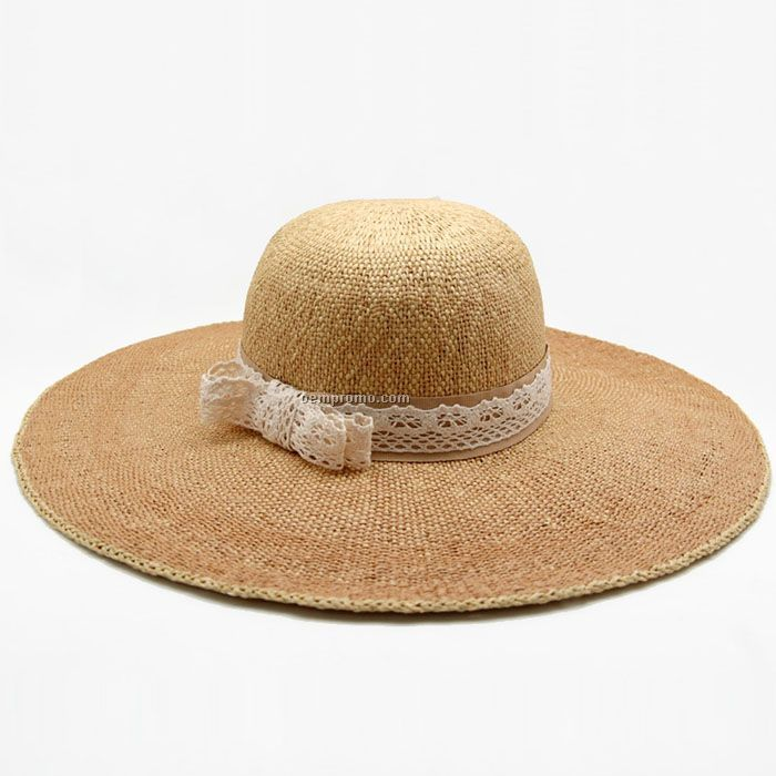Lace band straw hat
