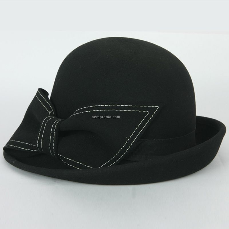Lady black winter wool hat with bow