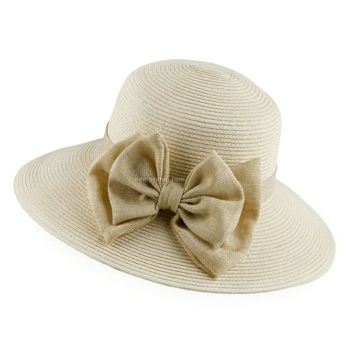 Lady elegant bow straw hat