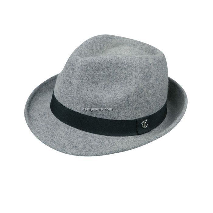 Light grey triby hat with black band