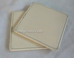 Medium Brown Leatherette Rcmp Square Coaster