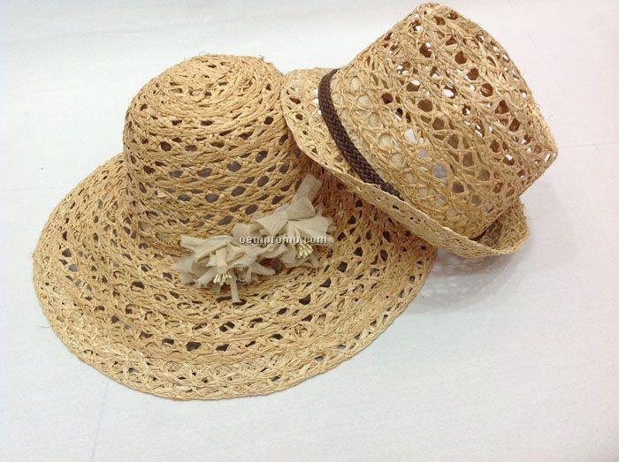 Natural straw big brim hat