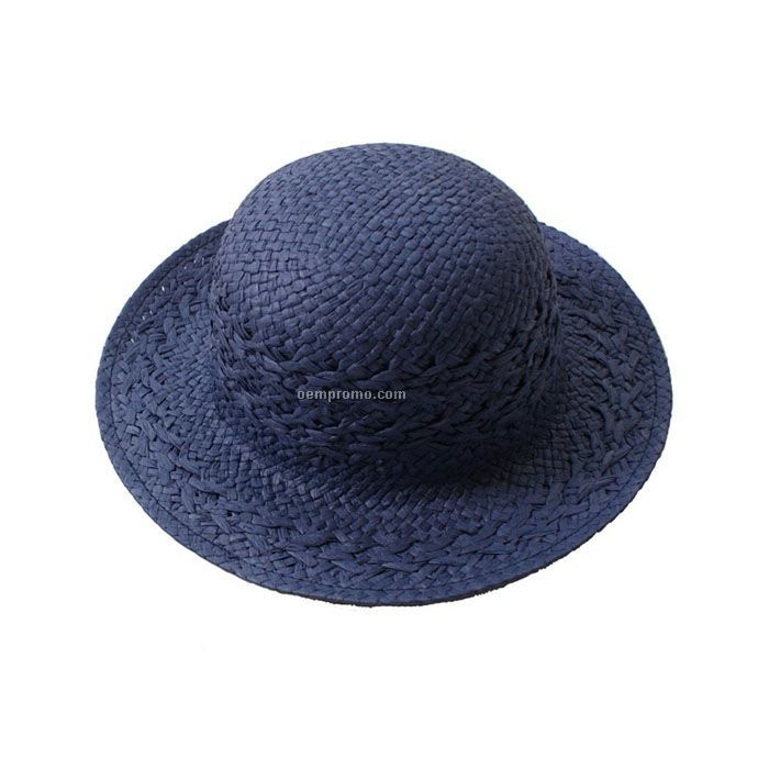 Navy blue natural straw hat