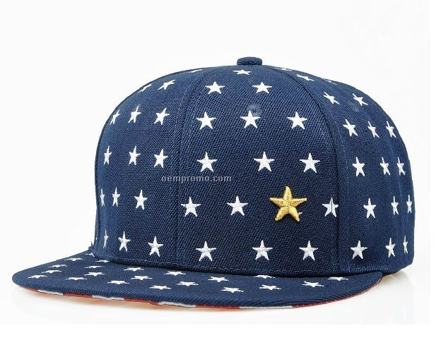 Navy hip hop snapback hat with stars