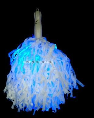 Promotional 12 inch Blue Light up Pom Poms