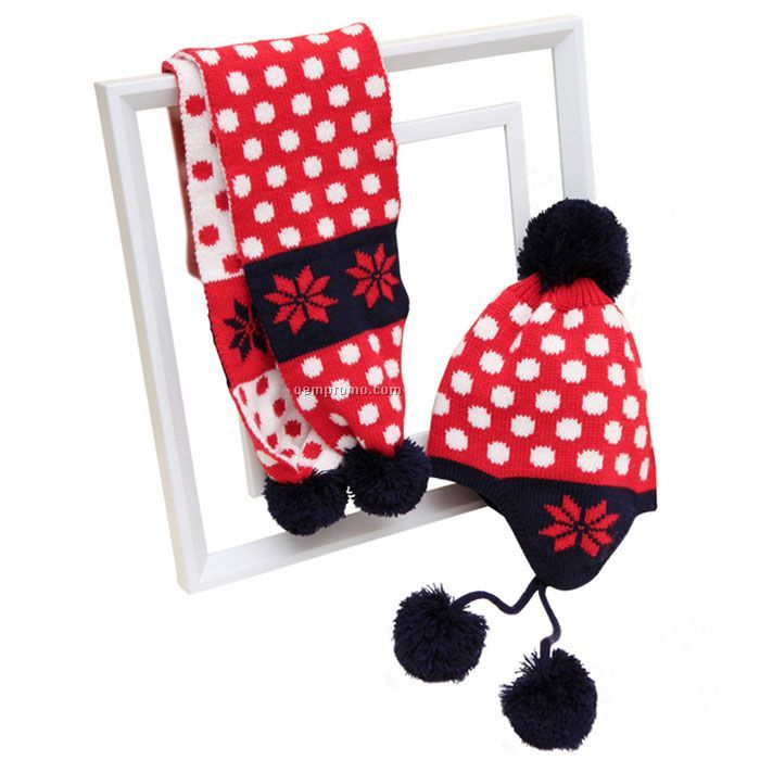 Red dots kids` scarf