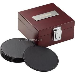 Set Of 6 Round Black Leatherette Coasters - Closed Box