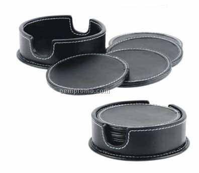 Set Of 8 Dark Brown Round Black Stone Wash Cowhide Coasters