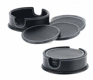 Set Of 8 Round Black Stone Wash Cowhide Coasters