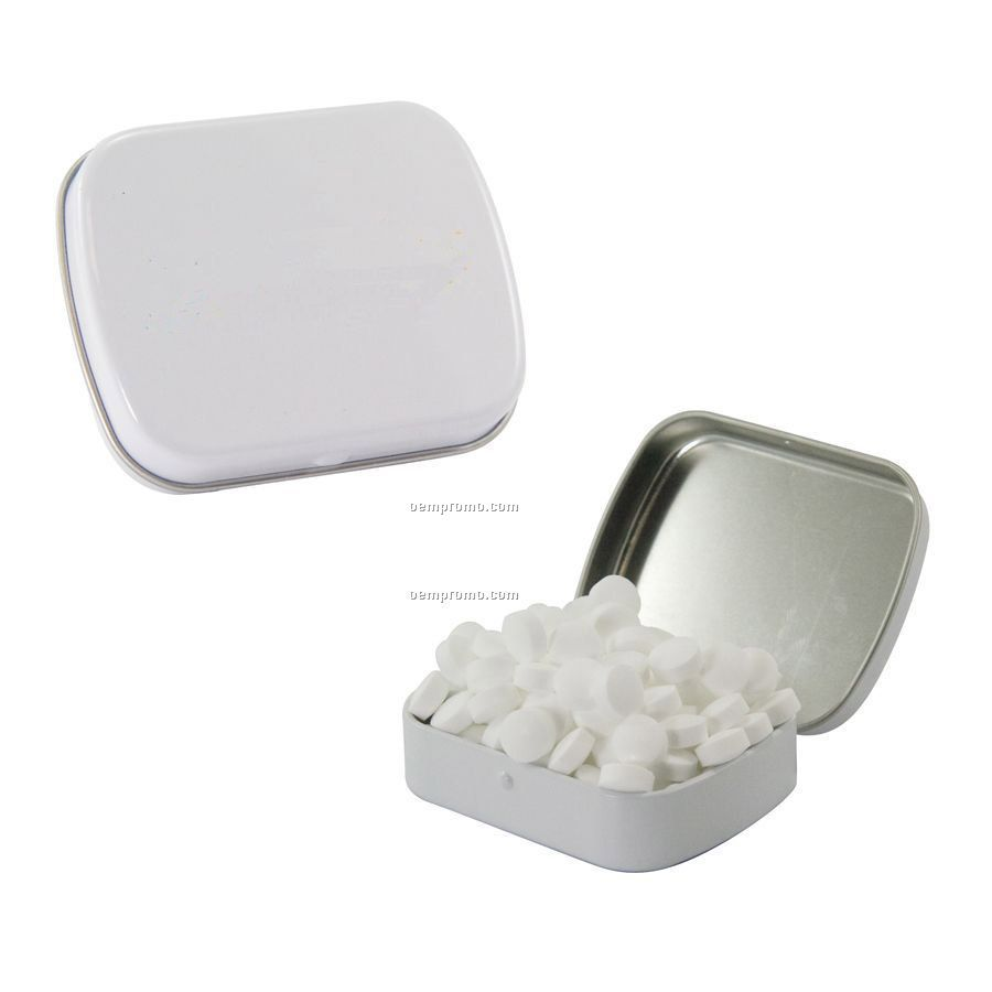 Small White Mint Tin Filled With Sugar Free Mints