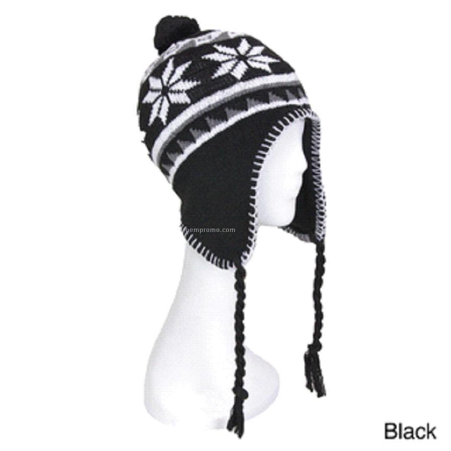 Snowflake earflap knitting hat