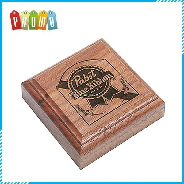 "Square Wood Paperweight (3 1/2""X3 1/2""X1"")"