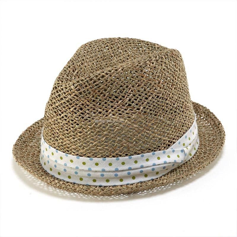 Straw fedora with dots