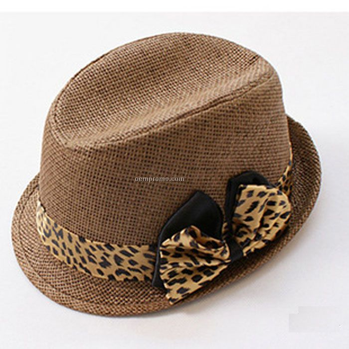 Straw fedora with leopards band