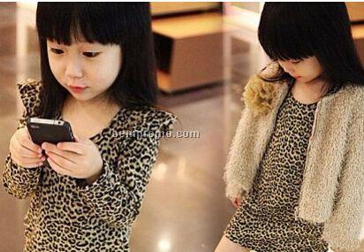 Stylish Little Girls Wild Leopard Long-Sleeved Dress/Jacket