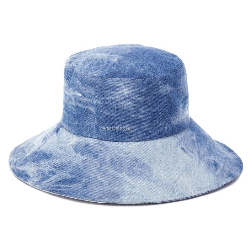 Tie-dyed Denim big brim bucket