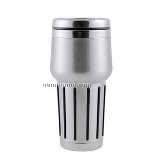 Travel Mug/ Tumbler - 16 Oz. Double Wall Stainless Steel W/ Rubberized Grip