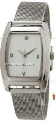 Unisex Square Dress Men`s Wristwatch With Silver Mesh Band
