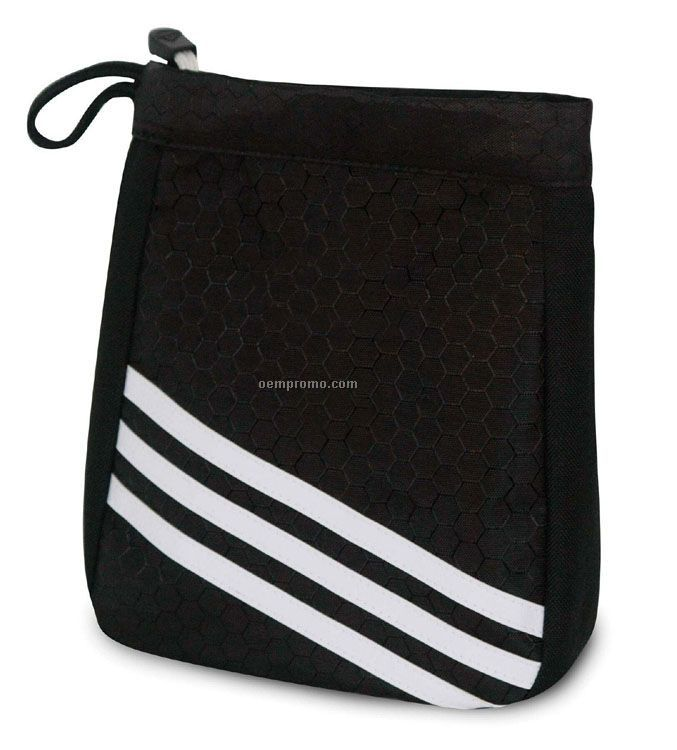 University Valuables Pouch W/ 3 White Stripes / Black/White