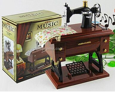 Vintage Sewing Machine Music Box