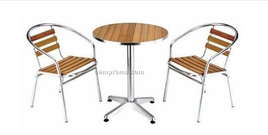 Wood chair and table with aluminum frame