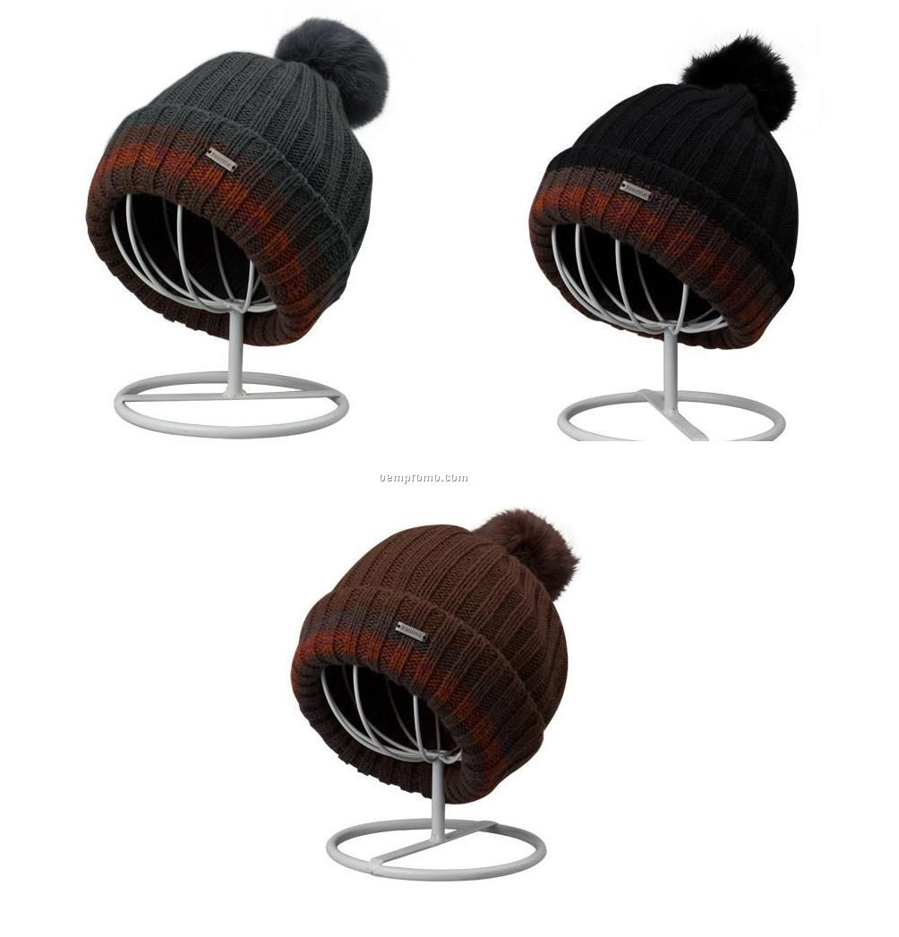 fashion beanie with rabbit fur pompom