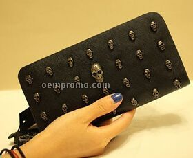 faux leather skull studded wallet